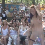 Fully naked girls in wet T-shirt contest