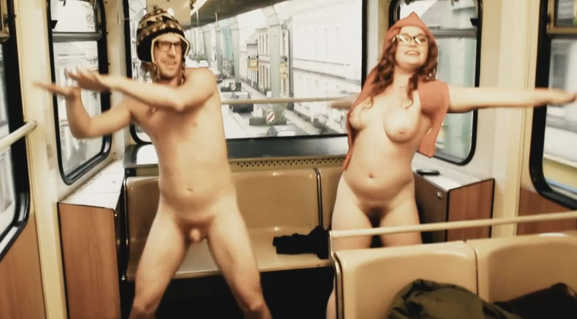 Dancing naked in the train