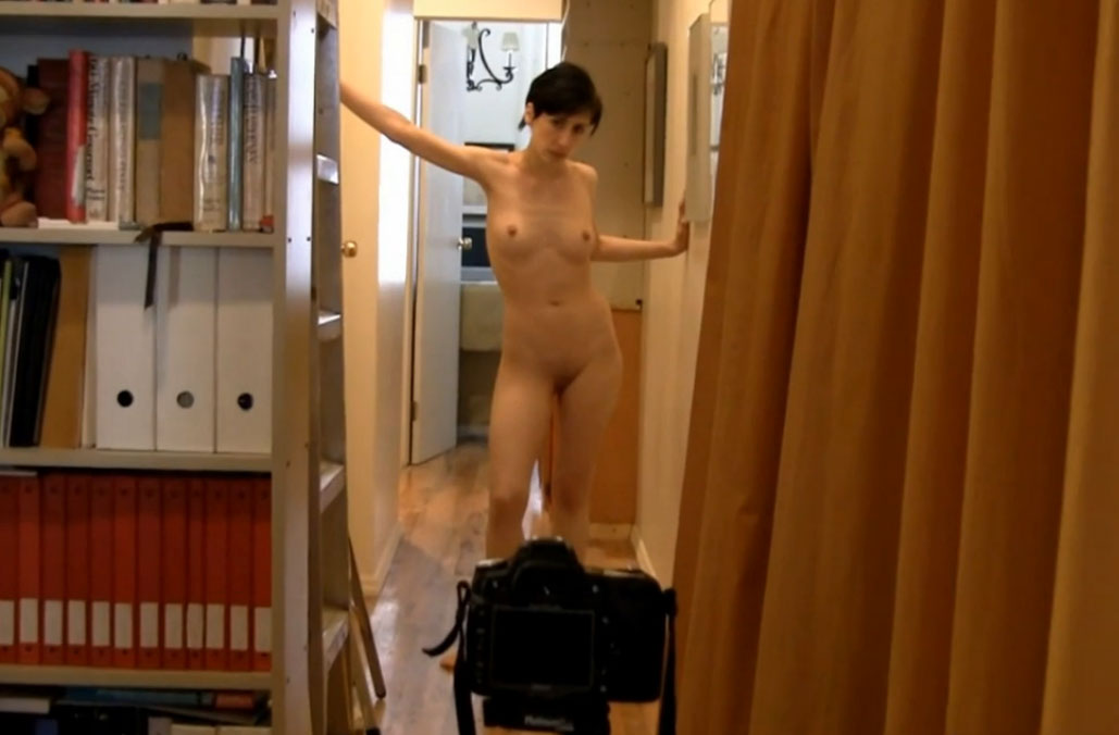 Naked Photographer making art at home