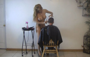 Haircut by naked blonde milf