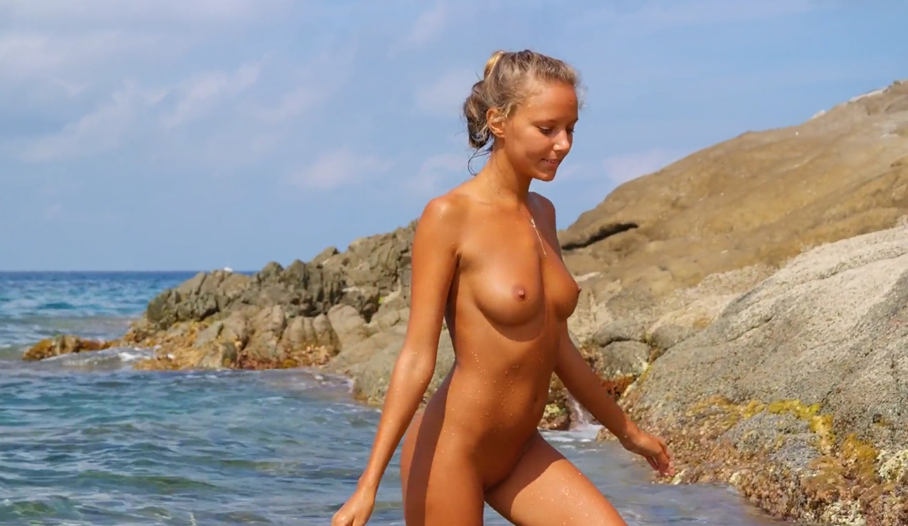 Katya Clover Naked in Algajola Beach