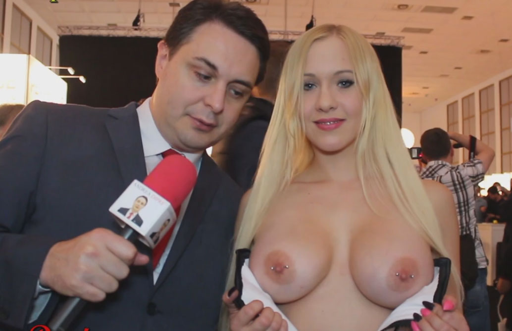 Celina Davis Exposing her boobs in the middle of interview