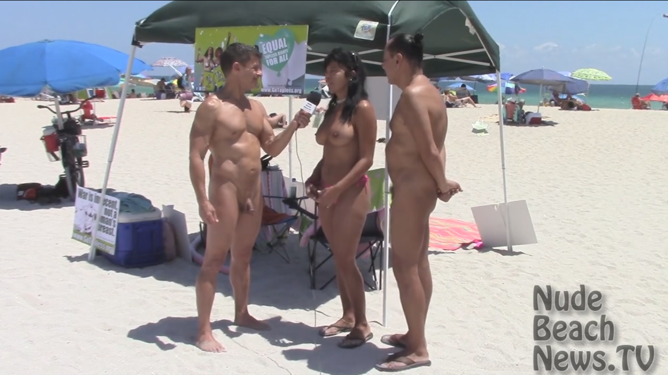 Nude beach interview with topless women [CFNM]