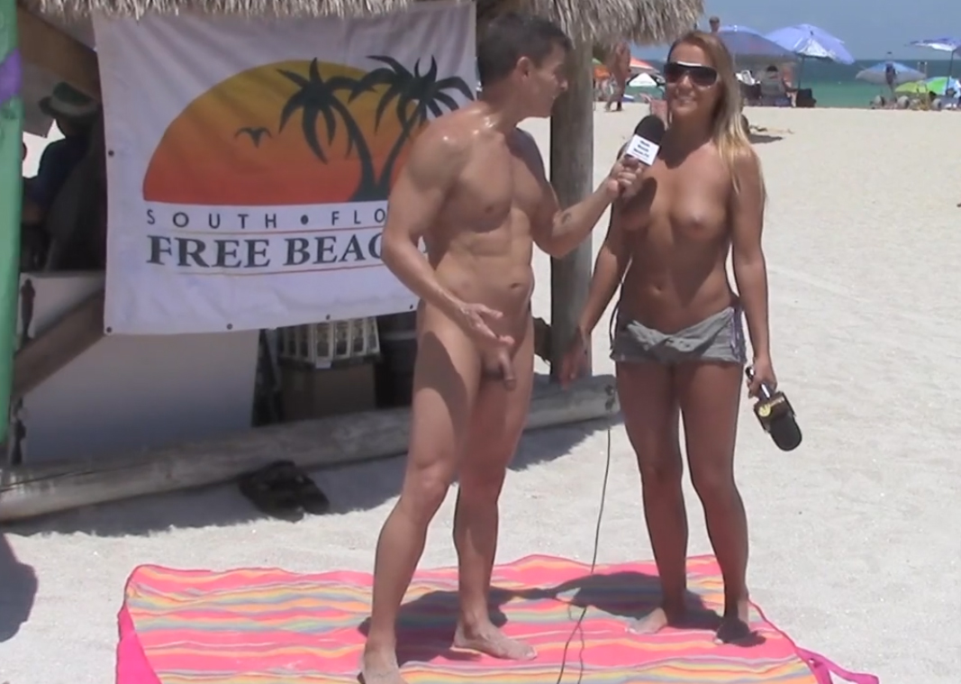 Naked beach CFNM interview