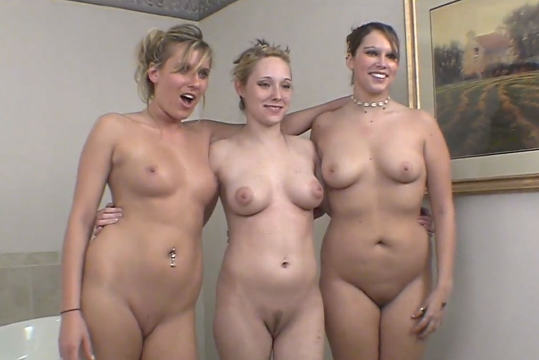 3 girls getting naked in the Jacuzzi room