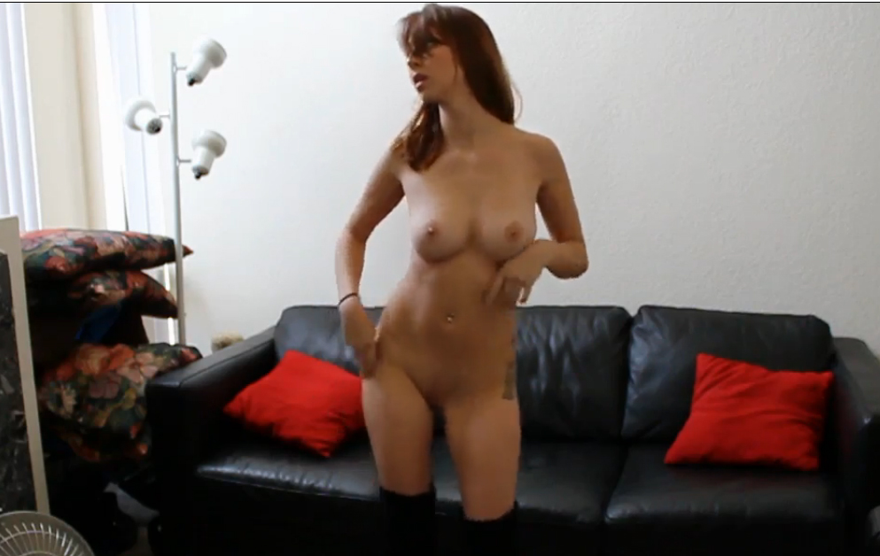 Party girl with perfect body strip at home