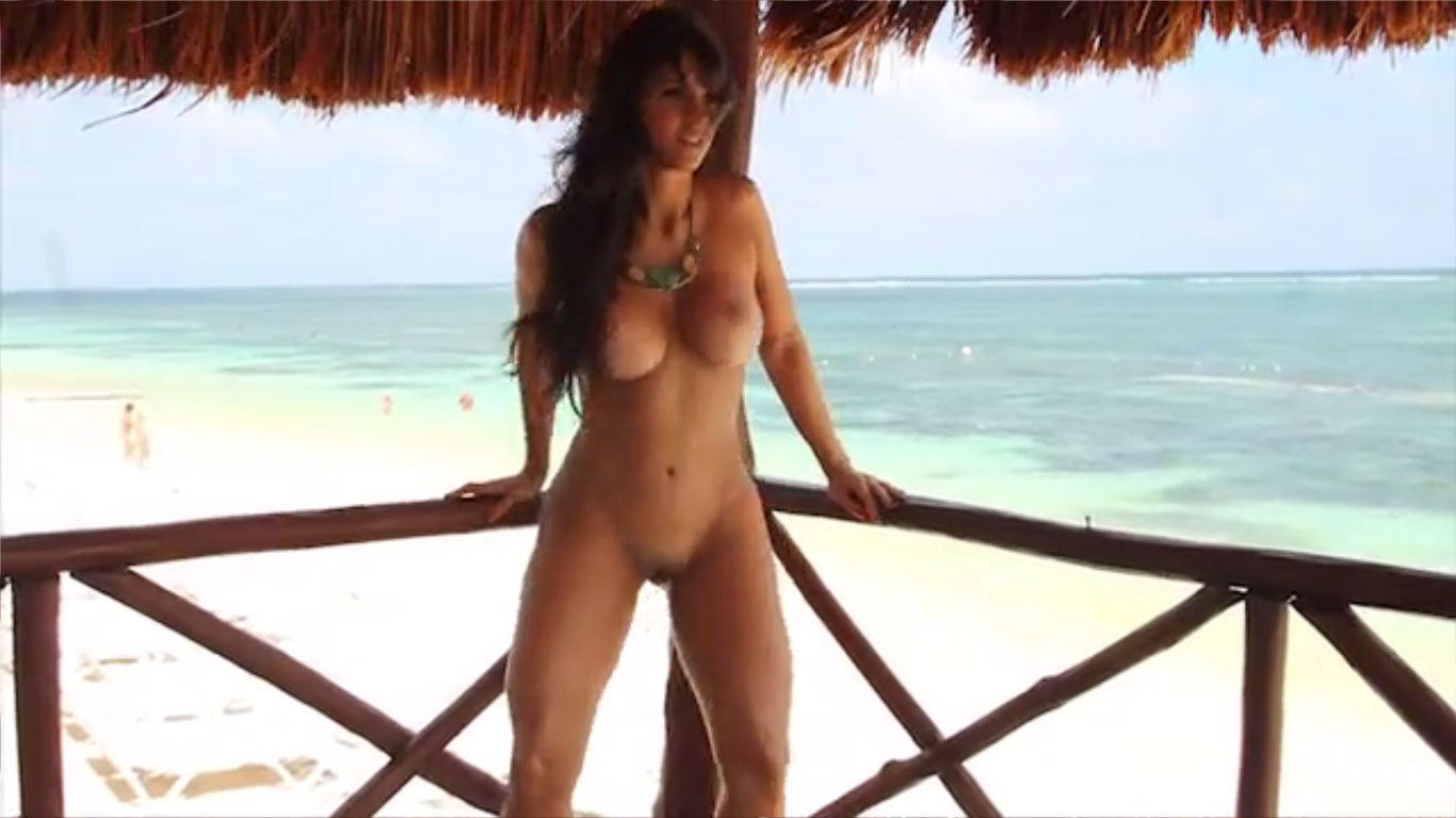 Naked Brunette on the beach