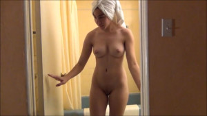 Taking shower and walking naked at home