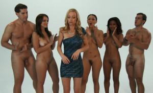 5 naked people celebrating