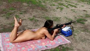 Naked women shooting AR-15