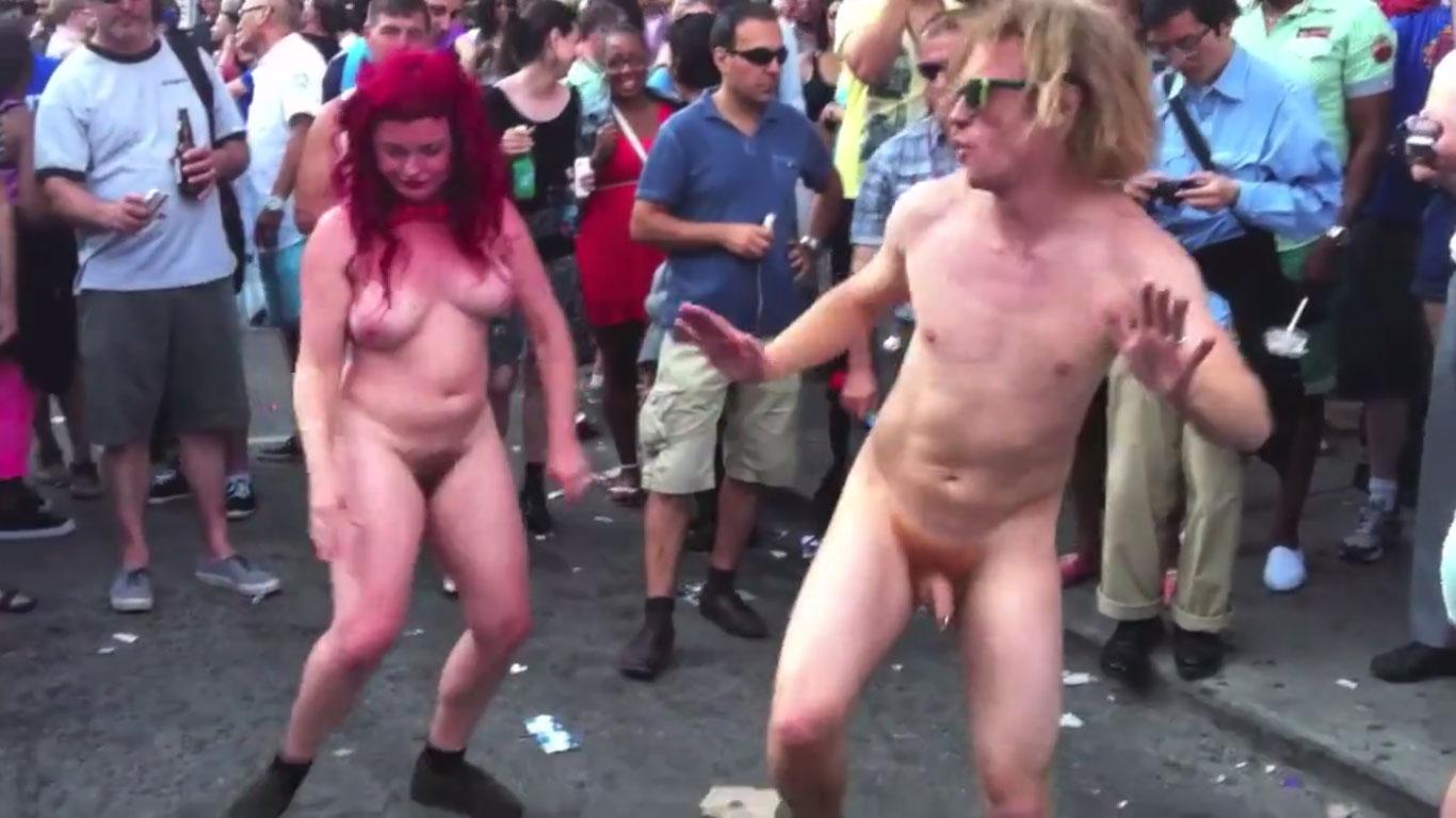 Naked & Happy People Dancing in Street