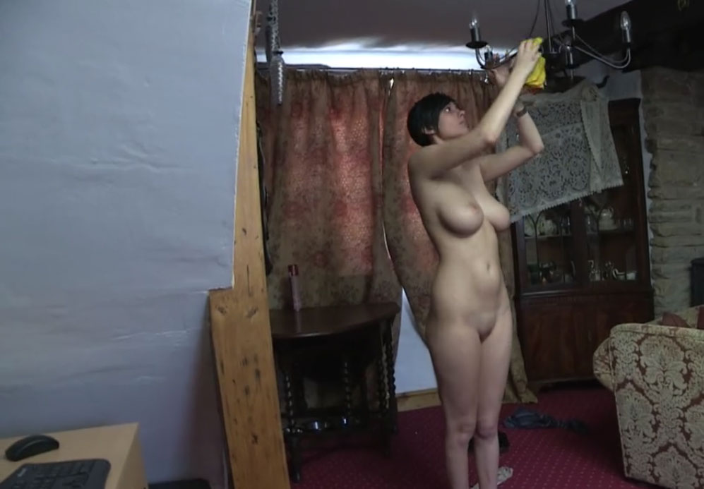 Brunette cleaning the house naked