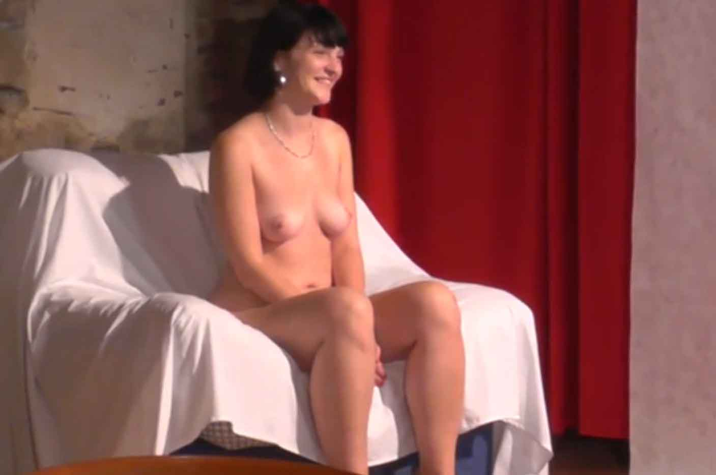 Naked backstage interview with sweet Czech