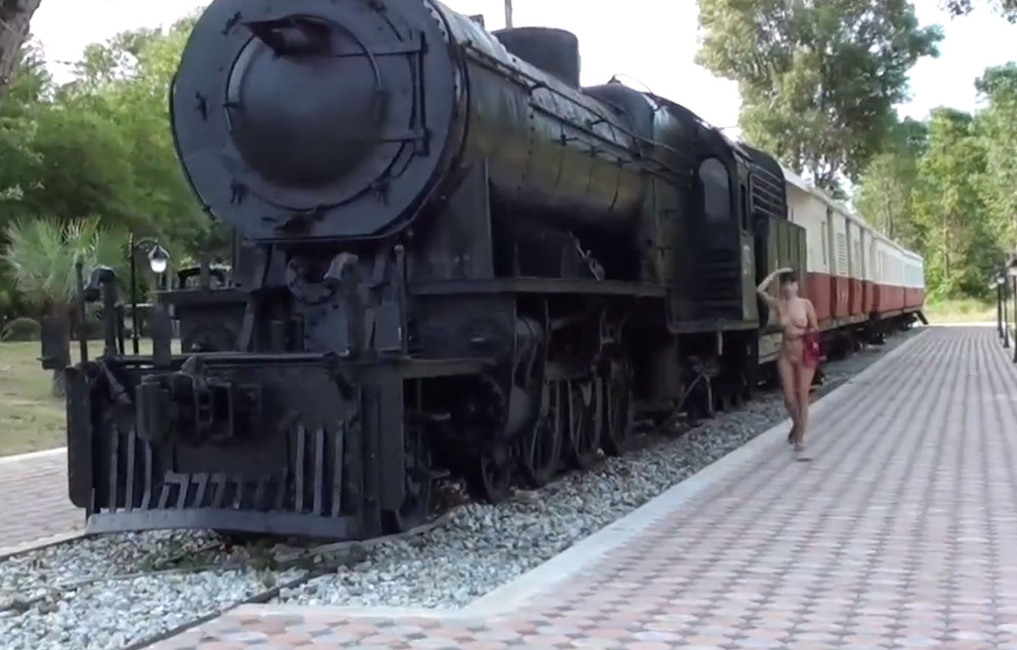 Walking naked in the train station