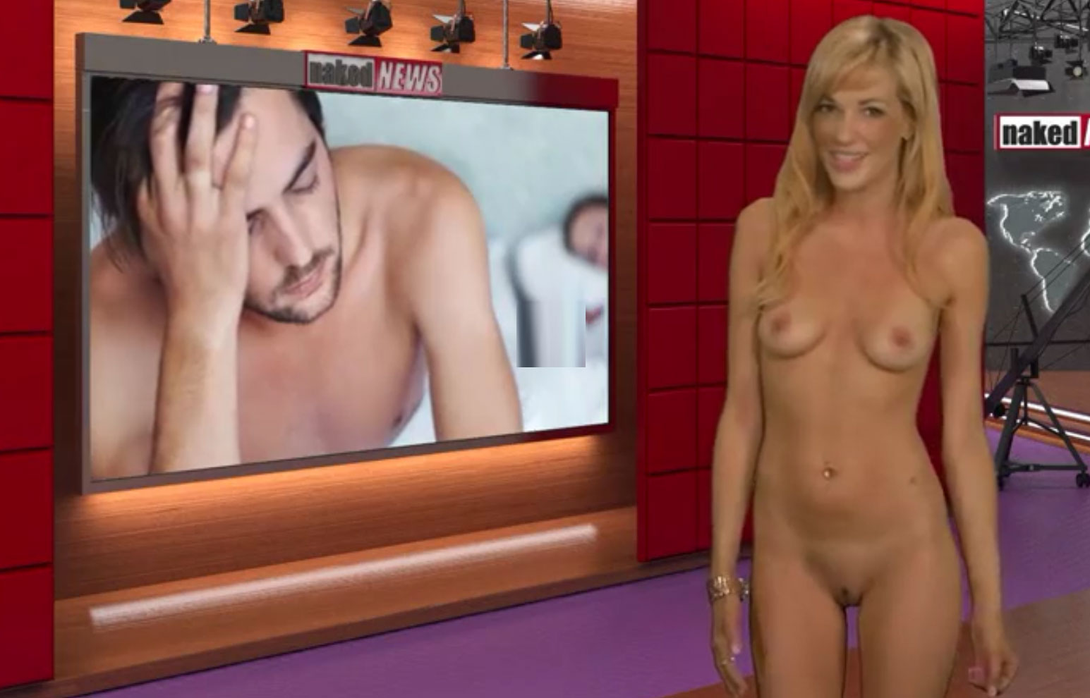 Katie - Naked blonde anchor on naked news