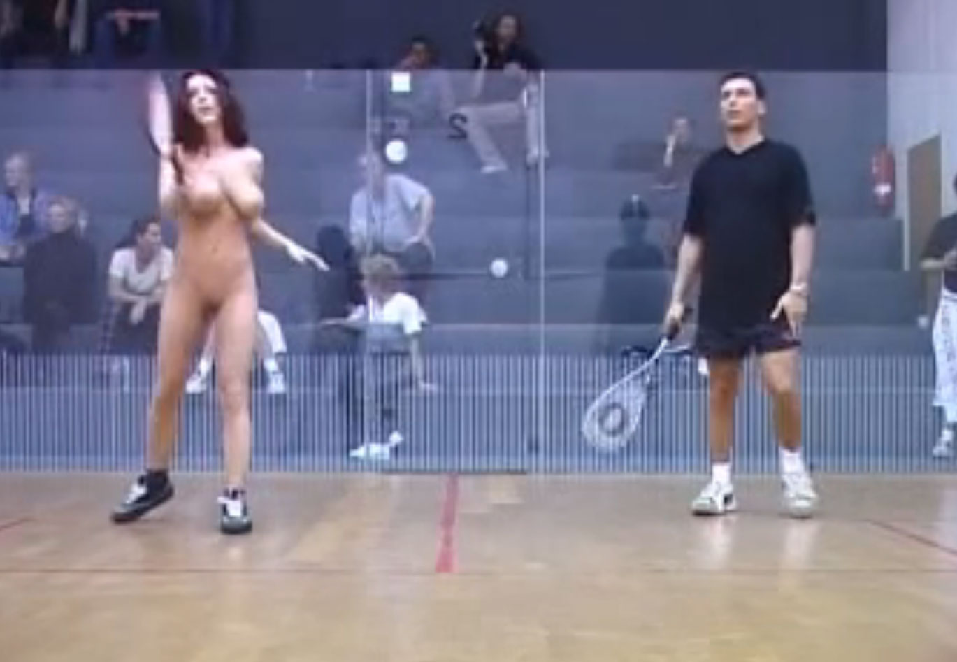 Naked in public after losing a squash game